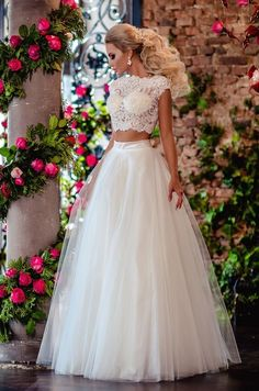 Wedding Dress with crop-top Cute Prom Dresses, Dance Dresses, 15 Dresses, Flower Girl Dresses, Bridesmaid Dresses, Formal Dresses, Two Piece Wedding Dress, Wedding Dress Sleeves, Bridal Wedding Dresses