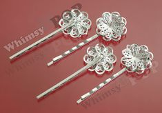 10  Silver Filigree Bobby Pin Blanks and Findings by whimsyandpop