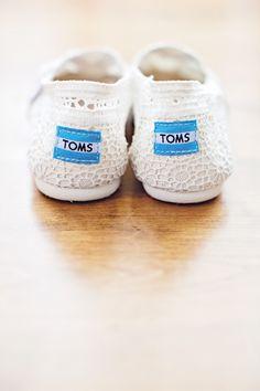 White Eyelet TOMS Wedding Shoes