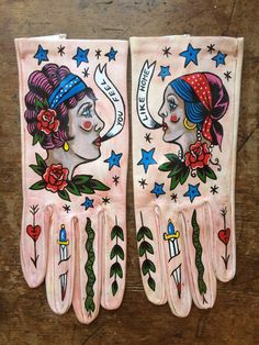 """Art by Ellen Greene — Hand painted gloves- """"Home"""" by Ellen Greene Ellen Greene, Caroline Reboux, Mode Sombre, Mitten Gloves, Mittens, Leather Fashion, Italian Leather, Diy Clothes, Wearable Art"""