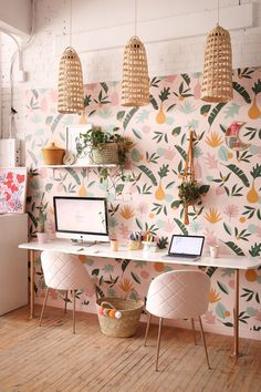 Canada Based – Home office wallpaper Home Office Space, Home Office Design, Home Office Decor, Office Wallpaper, Ideas Para Organizar, Cheap Home Decor, Vintage Home Decor, Home Decor Accessories, Home Remodeling