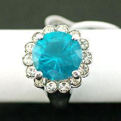 Size 8 Shiny Cocktail Blue Gemstone Zircon Ring FREE SHIP
