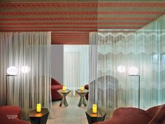 At Colombia's Four Seasons Hotel Bogotá, Rottet Studio furnished the spa's relaxation room with Tom Dixon tables, custom love seats covered in cotton ve...