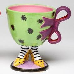 Only 3 Days Left Inch Green Leopard Print Cup with Purple Bow on Yellow High Heels