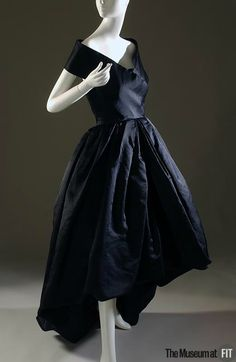 Cristobal Balenciaga (French, founded 1949), Evening dress, Fall 1957. Black silk gazar. Museum Purchase. P91.26.2. The Museum at FIT 2012 © The Museum at FIT