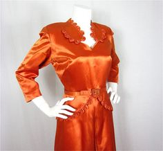 Vintage 1940s Brilliant Copper Satin Dress Sz S by FireflyVintage, $150.00