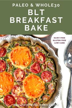Paleo Whole30 BLT Breakfast Bake has all the flavors of a BLT, but packed in a delicious egg bake. Crispy bacon, baby spinach, and fresh tomatoes combine for a tasty, filling breakfast. Gluten free, dairy free, low carb, and low fodmap. #paleo #healthy #easyrecipe #dairyfree | realfoodwithjessica.com @realfoodwithjessica Whole 30 Breakfast, Breakfast Bake, Breakfast Casserole, Healthy Breakfast Recipes, Paleo Recipes, Real Food Recipes, Free Recipes, Fodmap Breakfast, Fodmap Recipes