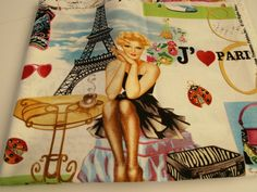 FABRIC REMNANT 42 x 18 Paris Theme Fabric Home by TomaCraftPlace