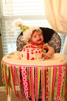 adorable ribbon highchair decoration!