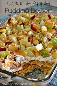 Caramel Apple Dessert. Layers of cream cheese, butterscotch pudding and whipped topping, topped with crunchy sweet and sour apples, peanuts and toffee bits - all drizzled with caramel!