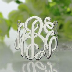 Personalized Monogram Necklace Silver Custom Monogrammed Name Necklace 3 Initials Jewelry