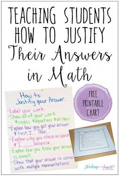 Teaching Students How to Justify Answers in Math Teaching students to justify their work in math doesn't have to be difficult. Read this post to learn how setting clear expectations and explicitly teaching students can make a huge difference. Student Teaching, Math Teacher, Math Classroom, Teacher Binder, Classroom Decor, Teaching Time, Teaching Spanish, Teaching Ideas, Math Strategies
