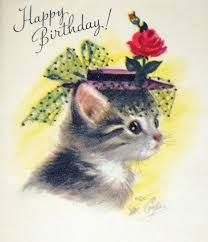 Vintage Birthday Card by Rust Craft Greetings, Artist: Marjorie Cooper/ Cat in a Hat Happy Birthday Owl, Happy Birthday Vintage, Cat Birthday, Birthday Wishes, Vintage Greeting Cards, Vintage Christmas Cards, Vintage Holiday, Vintage Postcards, Birthday Greetings Quotes