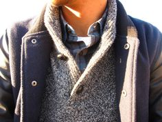 Layers for men. Tshirt+checked shirt+sweater+jacket