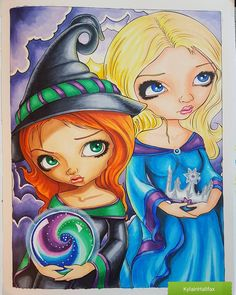 """16 Likes, 3 Comments - Kyla Brown (@kylainhalifax) on Instagram: """"""""Wicked Witch and Glinda"""" from Jasmine Becket-Griffith's Coloring book a fantasy art adventure…"""""""