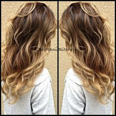 Light brown ombre with Carmel balayage highlights sombre