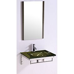 @Overstock - Legion Furniture Tempered GlassTop 24-inch Single Sink Bathroom Vanity with Mirror - Add a sleek, modern touch to your bathroom decor with this Legion Furniture Tempered Glass Single Sink Bathroom Vanity and mirror. This sink mounts on the wall and features a tempered glass top and sink with a stainless steel base.    http://www.overstock.com/Home-Garden/Legion-Furniture-Tempered-GlassTop-24-inch-Single-Sink-Bathroom-Vanity-with-Mirror/6737521/product.html?CID=214117  $288.99