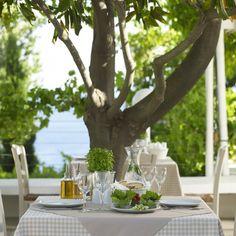 """Indulge in fine Greek and Mediterranean cuisine"" Atrium Hotel Skiathos, Fine Dining, Natural Stones, Greek, Table Decorations, Design, Kitchens, Greek Language, Design Comics"