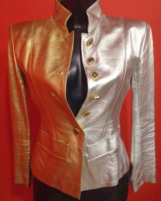 What is wonderful about my art is that dream and reality can become one. There is just one step between the two.  YVES SAINT LAURENT, Catalog of the Exhibition Held at the Costume Institute of the Metropolitan Museum of Art, 1983.  Iconic Vintage YSL Gold and Silver Leather Jacket. One of my best one masterpiece. 😍😍😍
