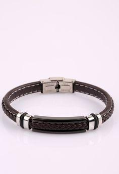 Kahverengi Örme Deri Çelik Erkek Bileklik BLK1263 - Men Bracelet