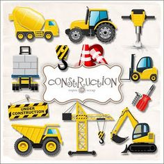 Free vector scrapbook elements 7 10 Free Sets of Vector Scrapbook Elements Construction Birthday Parties, Construction Party, Third Birthday, 3rd Birthday Parties, Birthday Ideas, Digger Party, Transportation Theme, Baby Kind, Clipart
