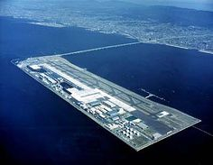 KIX- Kansai International Airport, Osaka, Japan - An aerial view of the artifical island on which the Osaka airport is based.
