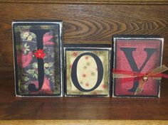 Joy Christmas Sign Word Blocks by PunkinSeedProduction on Etsy