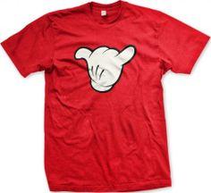 Shaka Sign Hang Loose Mens T-shirt, Funny White Gloves Cartoon Mickey Hand Shaka Design Mens Tee