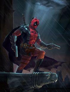 #Deadpool #Fan #Art. (BatPool) By: Sergei Rynkov. ÅWESOMENESS!!!™ ÅÅÅ+