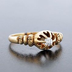 Victorian 14kt Yellow Gold Diamond Engage Ring .20ct from abrandtandson on Ruby Lane