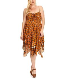 Brown & Green Floral Handkerchief Dress - Plus