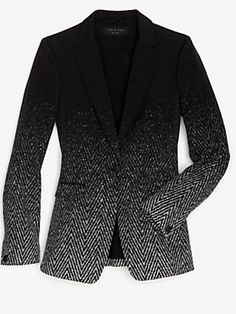rag & bone EXCLUSIVE 42nd St Ombre Blazer  Marcus Wainwright and David Neville are the masters of classics made with very special, modern twists. The color of this blazer makes it a fashion delight that was made exclusively for us. It has a notched lapel, single button closure, two flap pockets and a vent at the back. Simply classic and tailored perfection. Lined. Made in USA. In ombre black/grey.  Fabric: 33% polyethylene/33% cotton/22% polychloride/7% poly vinyl/5% wool    $628