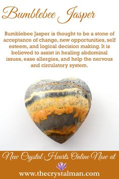 Bumblebee Jasper ~ Change-Opportunity-Self Esteem-Decisions-Allergies-Nervous System-Circulatory System Shop new crystal hearts online now at The Crystal Man! Minerals And Gemstones, Crystals Minerals, Stones And Crystals, Chakra Crystals, Gem Stones, Crystal Healing Chart, Healing Crystals, Healing Rocks, Crystal Meanings