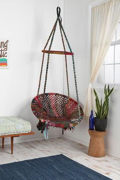 """UrbanOutfitters.com: Marrakech Swing Chair... I have wanted a hammock in my apartment since living in Tel Aviv... this looks like the perfect chair on an open """"mipeset"""" to sit and enjoy a sunny afternoon with a good book."""