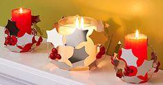 Teelichthalter und Kerzenaccessoire Stechpalme von PartyLite / Porte-bougie à rechaud et porte-bougie Branche de houx de PartyLite