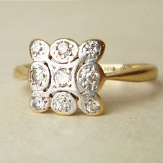 Art Deco Scalloped Square Diamond Ring, Antique Diamond, Platinum 18k Gold Engagement Wedding Ring