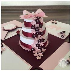 Stampin' Up! - Explosionsbox zur Hochzeit mit einer Torte voller Blüten - Bellas Stempelwelt - Dunkelrot, Zartrosa, Geldgeschenk