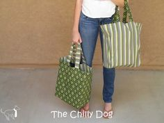 Sewing Tutorial: Reversible Shopping Bags - How to make a set of two large, sturdy, reusable, shopping tote bags.