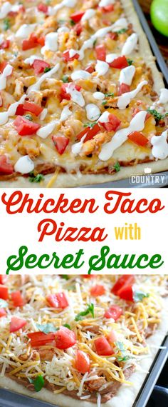 Chicken Taco Pizza with Secret Sauce recipe from The Country Cook and how I get TWO meals with only one meal preparation with Glad Second meal: Chicken Tacos with Del Taco's Secret Sauce! Taco Pizza, Chicken Pizza, Chicken Tacos, Spicy Pizza, Chicken Meals, Healthy Chicken, Grilled Chicken, Pizza Recipes, Sauce Recipes