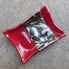 Crimson Red Fused Glass Soap Dish Bathroom by mediumstomasses, $25.00