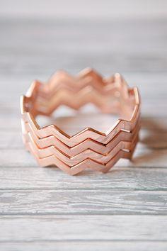 Rose Gold Chevron Bangles... Match my engagement ring! :))