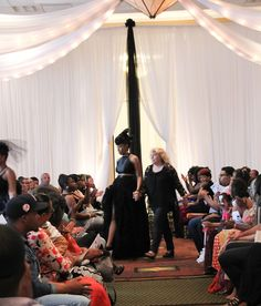 Beauty and Brains Fashioni  Show Nashville, TN  - TwoSistersPhoto Jan King Designs    Black Rose Skirt and Halter top with feather headpiece.  2016 Jan King Designs.