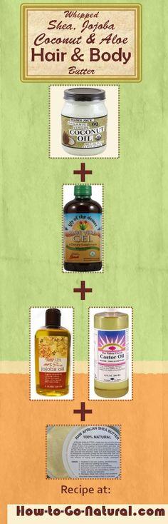 Whipped Shea Hair  Body Butter Recipe: DIY solution for chronically dry hair  skin #WhippedSheaButter