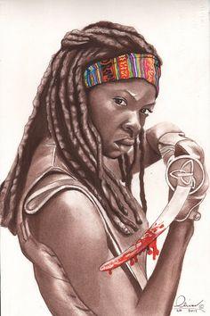 Michonne dibujado a mano por essenceofus en Etsy___!!!