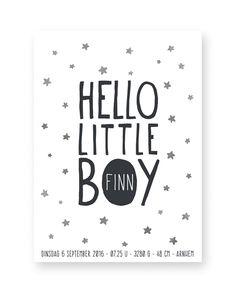 gepersonaliseerde baby geboorteposter Hello little boy - baby geboorte kraamcadeau hippe mama's zwart wit sterretjes met kleuraccent - zelf poster maken bij printcandy