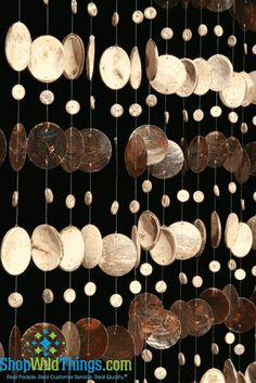 This wonderful beaded curtain is made out of hundreds of coconut shell pieces and mocha coloured real capiz shells. You will love the gentle sound that they make as they swing in the breeze. Coconut Shell Crafts, Coconut Leaves, Mocha Color, Sea Glass Crafts, Nativity Crafts, Beaded Curtains, Shell Art, Clay Beads, Craft Party