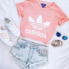 • summer outfit:  | pink Adidas shirt |  | pink superstars |  | denim shorts w/ silver circular studs |