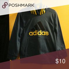 Adidas pullover w/hood Worn once Looks brand new Royal blue w/ lime green letters& stripes on hood. Lightly brushed lining 100% polyester Adidas Shirts & Tops Sweatshirts & Hoodies
