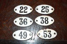 Vintage French Enamel Number Signs Plaque by VintageFleaFinds, $15.00