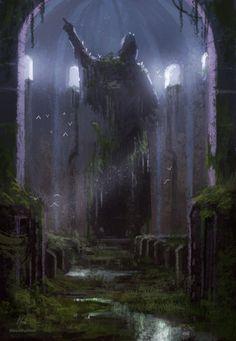 Long forgotten by MiroJohannes on DeviantArt High Fantasy, Fantasy Rpg, Medieval Fantasy, Fantasy World, Fantasy Art Landscapes, Fantasy Landscape, Landscape Art, Fantasy Concept Art, Fantasy Artwork